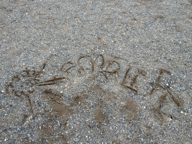 Practicing writing in the sand