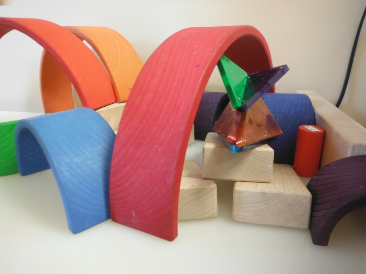 Rainbow Arches, wooden blocks and magnetic tiles