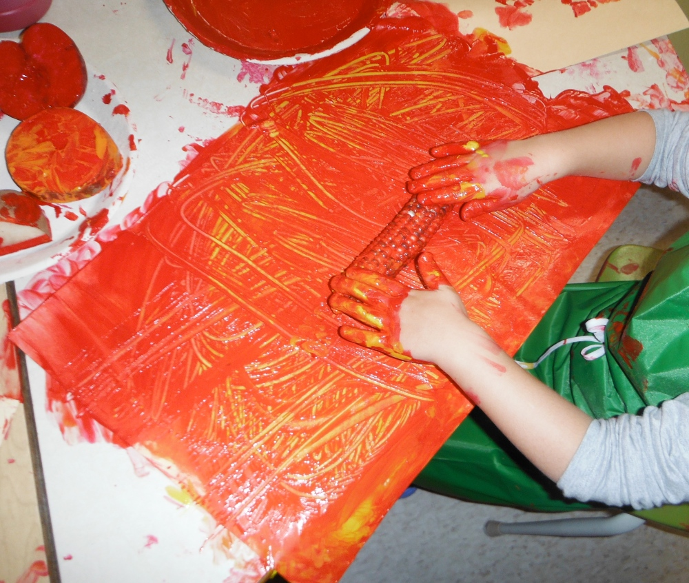 But instead of my idea (print-making) they started to use the vegetables for their own purposes (scraping).