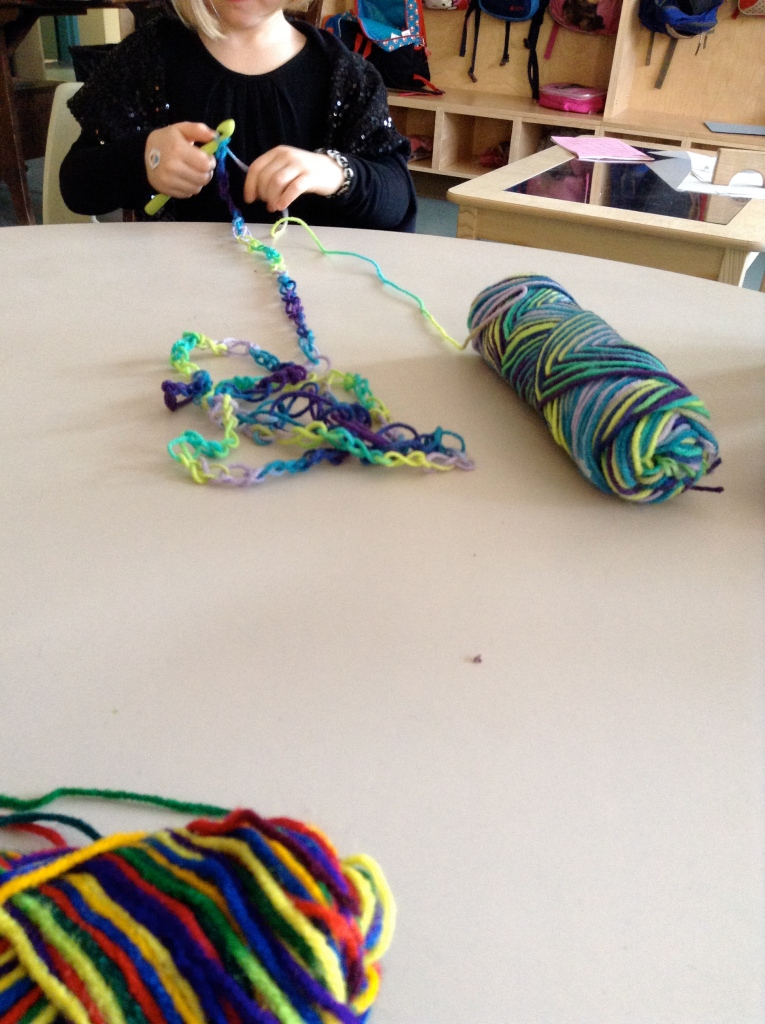 crocheting a long line of stitches